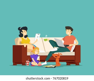 Family sitting on the couch with devices. Vector illustration.