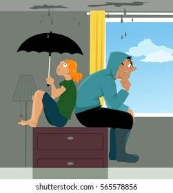 Family sitting on a dresser in a flooded living room of their house, ceiling is leaking, EPS 8 vector illustration