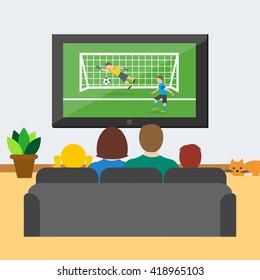 Fussball Schauen Zu Hause Stock Vektorgrafiken Bilder Und