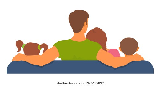 Family sitting on a sofa together, watching tv, resting. View from back. Togetherness, leisure time. Adult parents and kids. Vector cartoon flat style illustration isolated on white background.