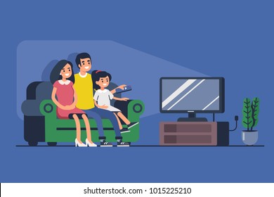 Family sitting on sofa and watching TV. Flat style illustration isolated on white background.