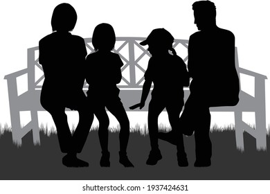 Family sitting in the park.