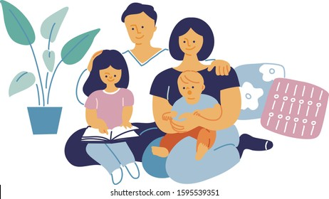 Family sitting portrait. A girl reading a book. Vector flat illustration.