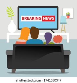 Family sitting together on a cozy couch watching breaking news on TV.