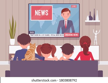 Family sitting watching together TV news at home. Broadcast report of recent events for parents and children spending time in front of tv set screen. Vector flat style cartoon illustration, rear view