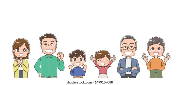 A family of six looks joyfully at the top