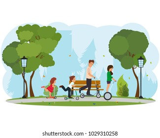 family skates on the scooters in the park. cheerful family day in nature. vector