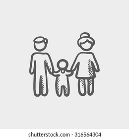 Family sketch icon for web, mobile and infographics. Hand drawn vector dark grey icon isolated on light grey background.