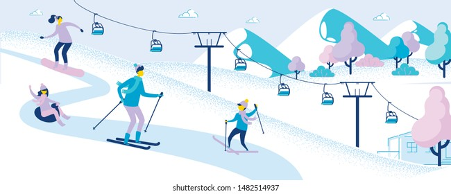 Family at Ski Resort. Winter Activity and Sports. People Skiing and Sledding. Going Down by Snowboard. Ropeway, Elevator. Kids and Parents Have Fun Outdoor. Snowy Landscape. Vector