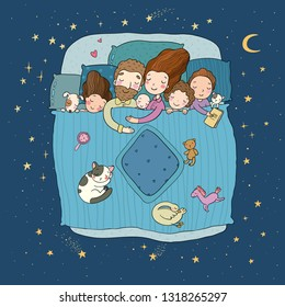 The family sleep in bed. Cartoon mom, dad and babies. Sweet Dreams. Good night. Bed linen. Funny pets. Illustration for pajamas. Happy children.