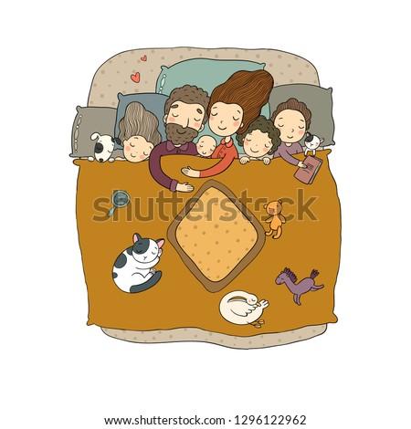 6a787e2abe Family Sleep Bed Cartoon Mom Dad Stock Vector (Royalty Free ...