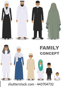 Family and social concept. Arab people generations at different ages. Arab people father, mother, son, daughter, grandmother and grandfather standing together in traditional islamic clothes. Vector.