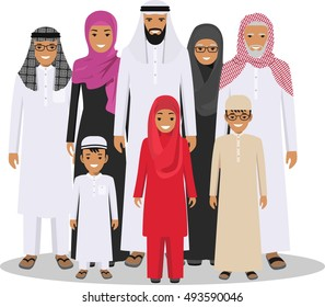 Family And Social Concept Arab Person Generations At Different Ages Muslim People Father