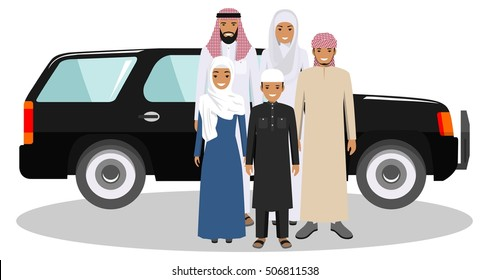 Family and social concept. Arab person generations at different ages. Muslim people father, mother, son and daughter standing together near the car in traditional islamic clothes. Vector illustration.