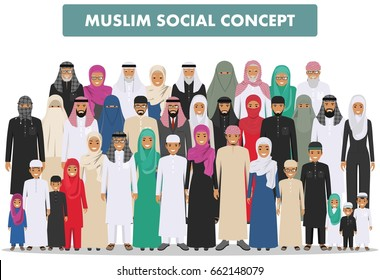 Family and social concept. Arab person generations at different ages. Group young and old muslim people standing together in different traditional islamic clothes on white background in flat style.