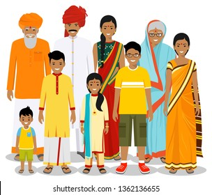Family and social concept. Indian person generations at different ages. Set of people in traditional national clothes grandmother, grandfather, father, mother, boy, girl standing together. Vector.