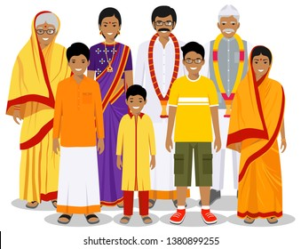 Family and social concept. Indian person generations at different ages. Set of people in traditional national clothes grandmother, grandfather, father, mother, boy, girl standing together. Vector