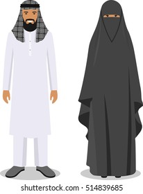 Family and social concept. Muslim arab men and women standing together in traditional islamic clothes in flat style on white background. Vector illustration.