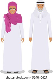 Family and social concept. Muslim arab old man and woman standing together in traditional islamic clothes in flat style on white background. Vector illustration.
