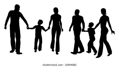 family with son walking silhouette vecto