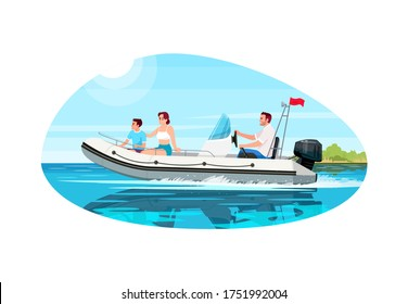 Family in speedboat semi flat vector illustration. People relax together in sailboat. Mother with child in ship. Husband steer boat. Summer recreation 2D cartoon characters for commercial use