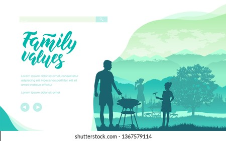 Family spend time together in nature. Mother takes picture, father and daughter do barbeque. Concept of family values, recreation, relaxation at weekend. Summer picnic. Vector design. Place for text.