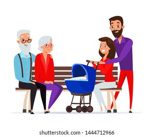 Family spend time together vector illustration. Happy parents, grandfather and grandmother cartoon characters. Cheerful young and old couples sitting on bench. Husband and wife with baby carriage