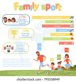 Family sport infographic poster with parents and their children. Mother, father, daughter and son playing football. Healthy and active lifestyle. Flat vector design