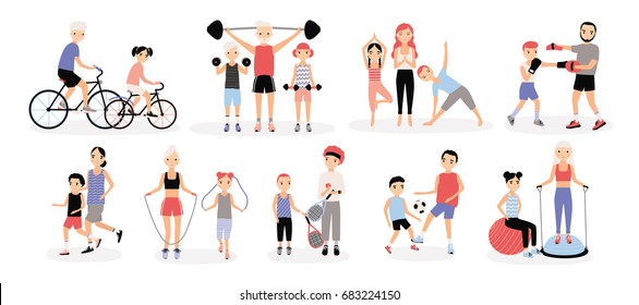 Family sports activity collection. Mothers and fathers with children set. Bosu, weightlifting, boxing, jumping rope, tennis, football, jogging, yoga, cycling training. Colorful vector illustration.