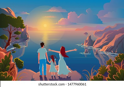 Family stand on the edge of a cliff with a beautiful view of nature and admire the sunset and the scenery
