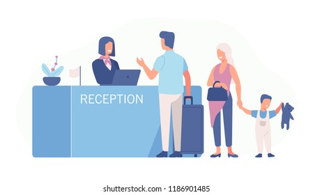 Family standing at airport check-in counter or registration desk and talking to female worker. Scene with tourists or travellers at hotel lobby. Colorful vector illustration in flat cartoon style.