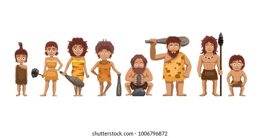 Family Standing Cartoon Vector Illustration Caveman Set