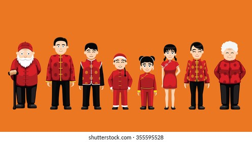 Family Standing Cartoon Vector Illustration (Chinese)