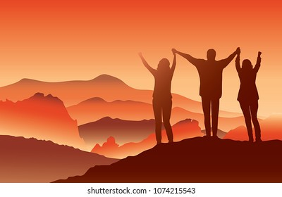 Family standing on top of the mountain holding raised hands.People  enjoying beautiful view on hiking trip on summer vacation. Vector illustration. Garden of the God, Colorado USA.