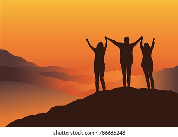 Family standing on top of the mountain holding raised hands.  Vector illustration. Blue Ridge Mountains, North Carolina, USA.