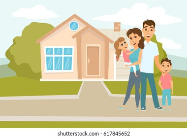 Family standing outside new home. People moving house. Mortgage loading real estate property with loan. Buying or or rental room. Happy hugging mother, father and their children