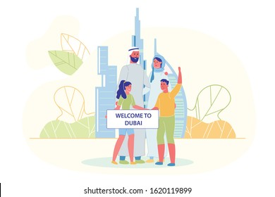 Family Standing Together and Holding Broadsheet with Welcome to Dubai Text Flat Cartoon Vector Illustration. Arab Khaliji Man, Woman in Traditional Clothing and Children with Buildings on Background.