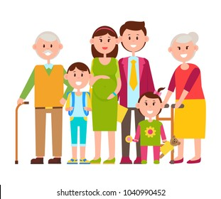Family standing together, people of all ages, parents and children, teddy bear and toy, schoolchild and bagpack, vector illustration isolated on white