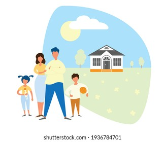 Family stay in home, stay in self isolation. Real estate background in flat style.