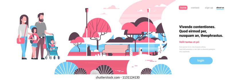family stroller children walking city park trees wooden bench river landscape background copy space banner flat vector illustration