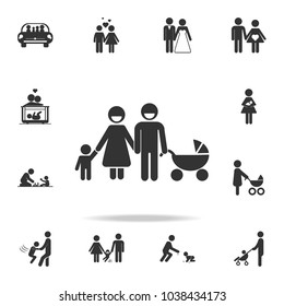 Family with stroller Icon. Detailed set of family icons. Premium quality graphic design. One of the collection icons for websites, web design, mobile appfamily on white background