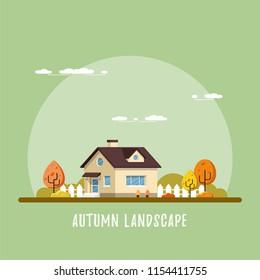 Family suburban home. Autumn landscape. Flat style illustration.