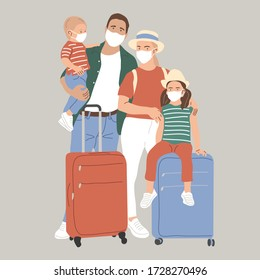 A family with suitcases in face masks. The lifting of the quarantine. The resumption of flights. Homecoming. Flat vector illustration.