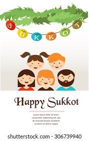family in the sukkah . sukkot Jewish holiday