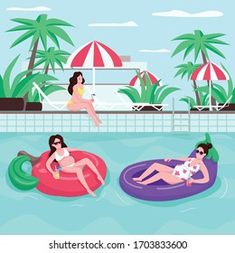 Family summer tour flat color vector illustration. Girl in sunglasses. Female with drink. People on inflatable water rings. Pregnant woman 2D cartoon characters with loungers on background