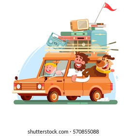 Family summer vacation.Orange car with suitcases. Vector illustration