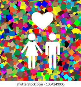 Family symbol with heart. Husband and wife are kept each other's hands. Love. Vector. White icon on colorful background with seamless pattern from squares.