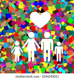 Family symbol with heart. Husband and wife are kept children's hands. Love. Vector. White icon on colorful background with seamless pattern from squares.