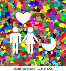 Family symbol with pram and heart. Husband and wife are kept each other's hands. Love. Vector. White icon on colorful background with seamless pattern from squares.