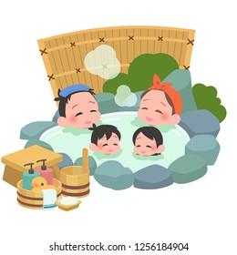 family takes japanese an open-air bath